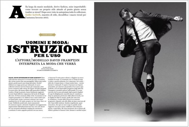British actor model David Frampton by Letizia Ragno wearing Fendi for interview feature Style Italia magazine