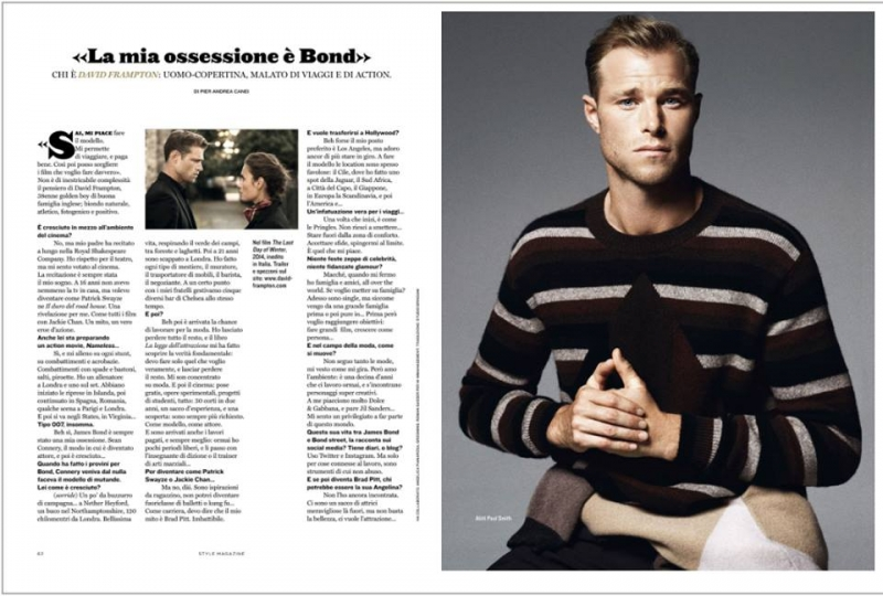 British actor model David Frampton by Letizia Ragno wearing Paul Smith for interview feature Style Italia magazine